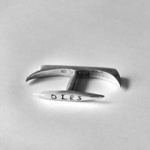 "Day/Night Knuckle Duster by Drawn & Quartered - $349.00; Ordo a Chao... Two-finger ring featuring the Latin words NOCTE/DIES ""night/day"" in solid sterling silver"