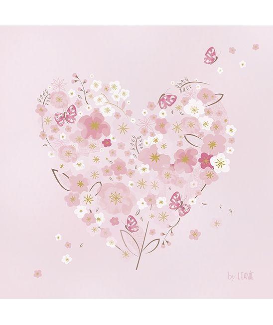 Tableau enfant coeur avec fleurs rose poudré décoration lilipinso