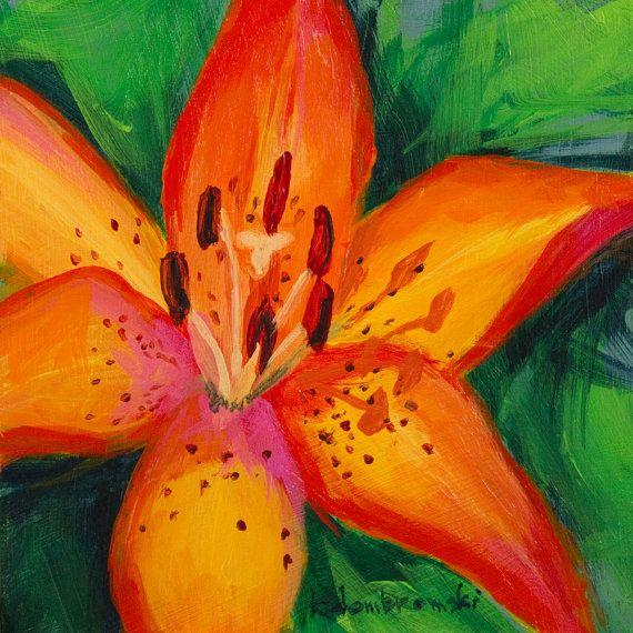 Still Life Original Acrylic Painting Orange Tiger Lily ...