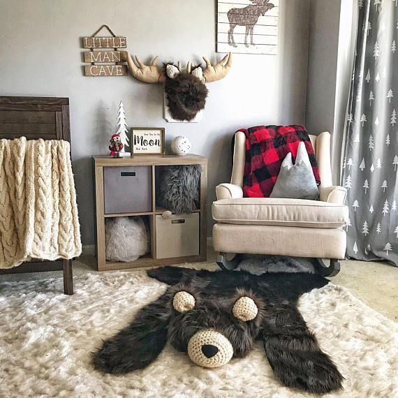 Nursery Rug, Regular Brown Grizzly Bear Rug, woodland