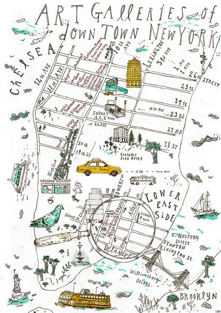 downtown new york art gallery map by camelgeese this beautifully illustrated map is simple but effective with intricately drawn symbols of new york