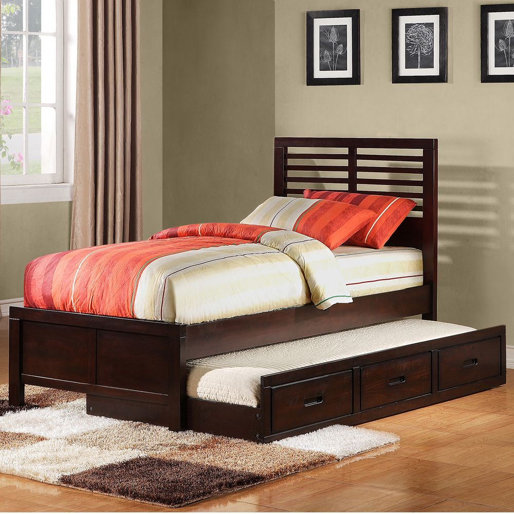 TRIBECCA HOME Ferris Cherry Full size Platform Bed with Trundle
