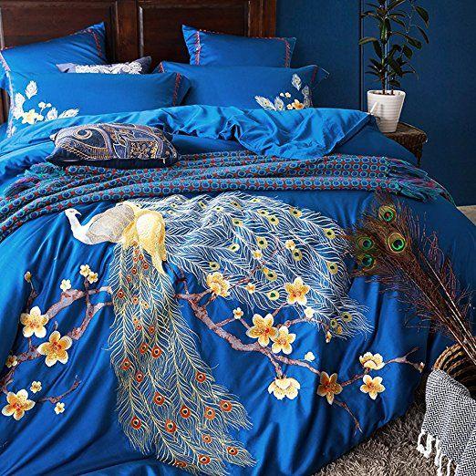 Egyptian Cotton Emboridery Peacock Bedding Sheet Sets Bedding Collections 4  Pieces  MAXYOYO Luxury Soft Duvet Cover Set Queen Size(1 Duvet Cover, ...