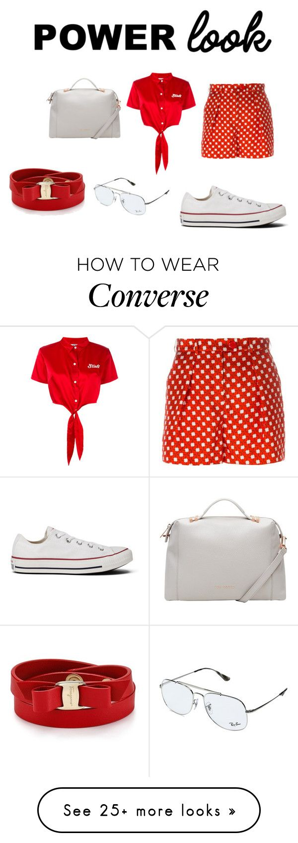 """""""power look"""" by sveta93 on Polyvore featuring Carven, GCDS, Converse, Ted Baker, Ray-Ban and Salvatore Ferragamo"""