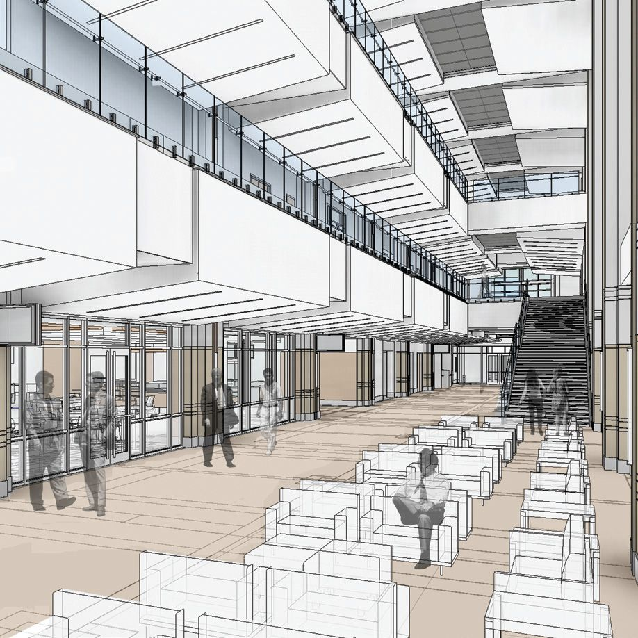 Interior render of the new Student Union at the University of