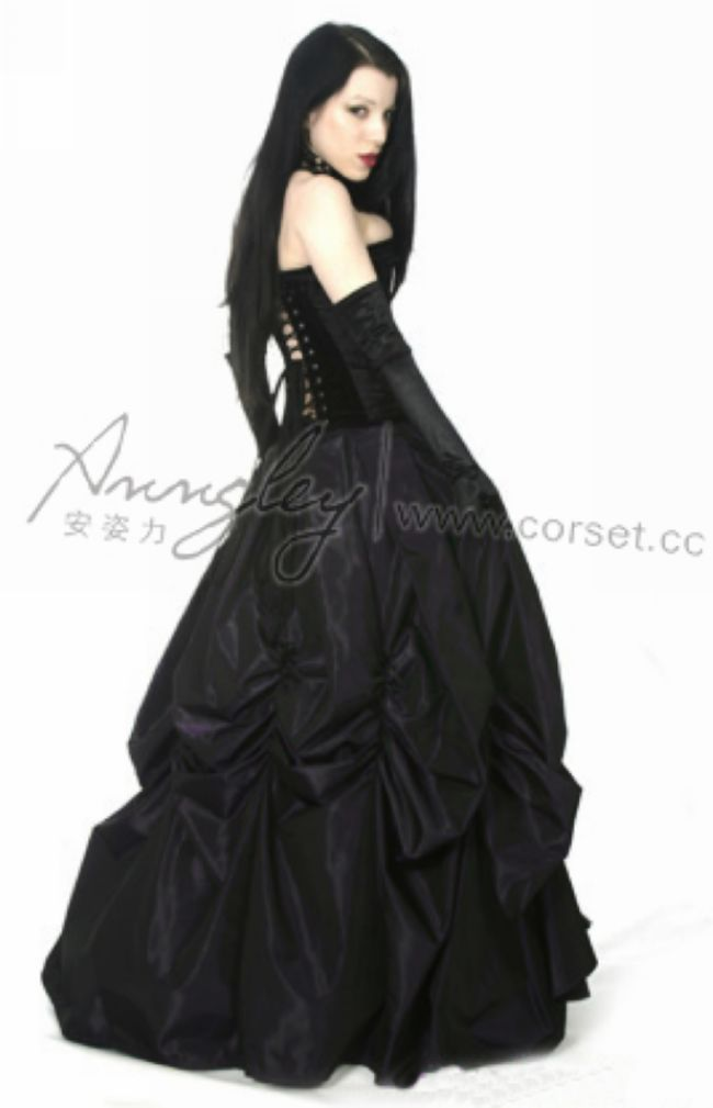 Black Gothic Long Party Tightlacing Corset Vintage Prom Dresses ...