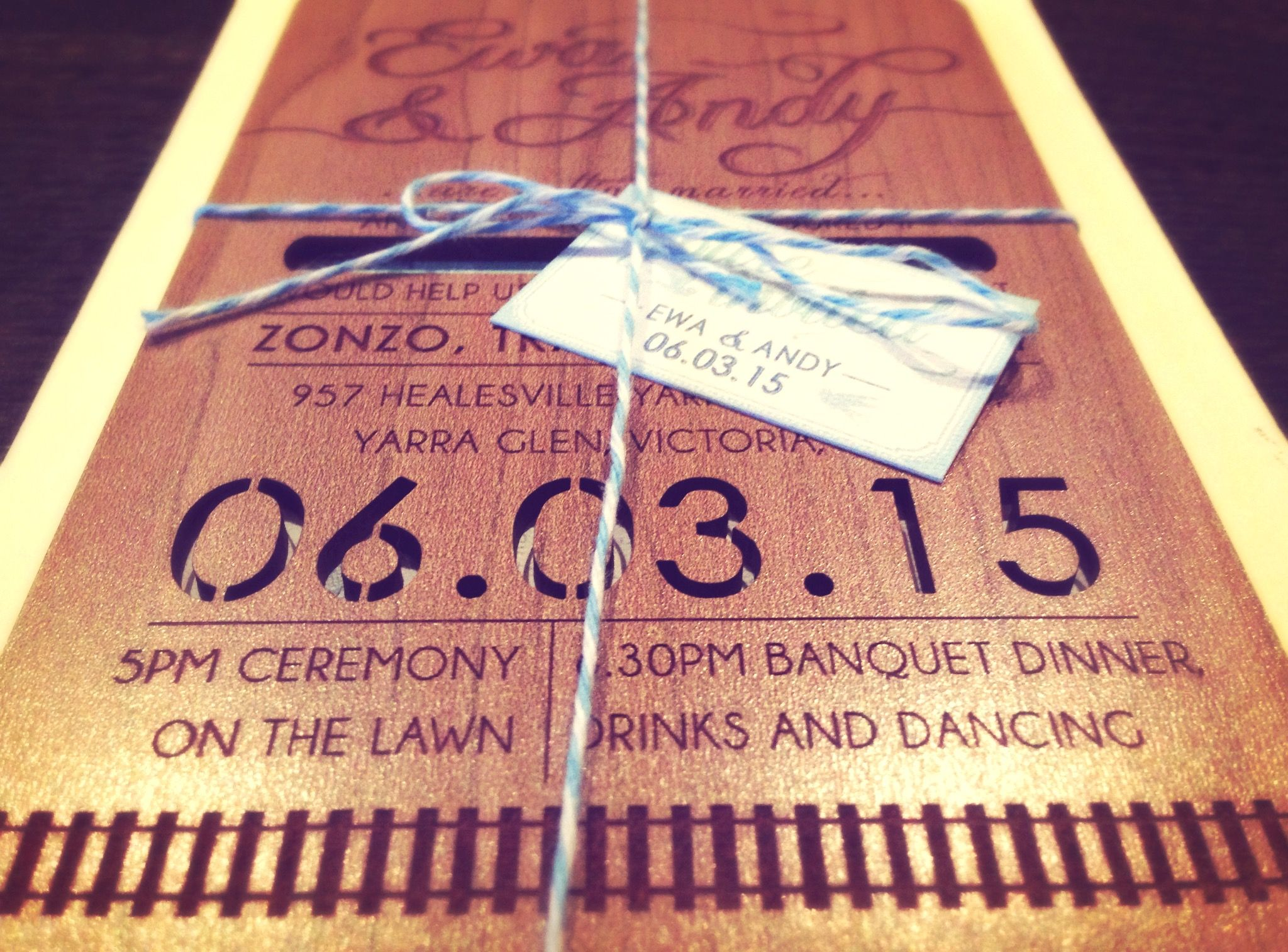 Laser cut wood wedding invitation set for winery wedding at an old ...