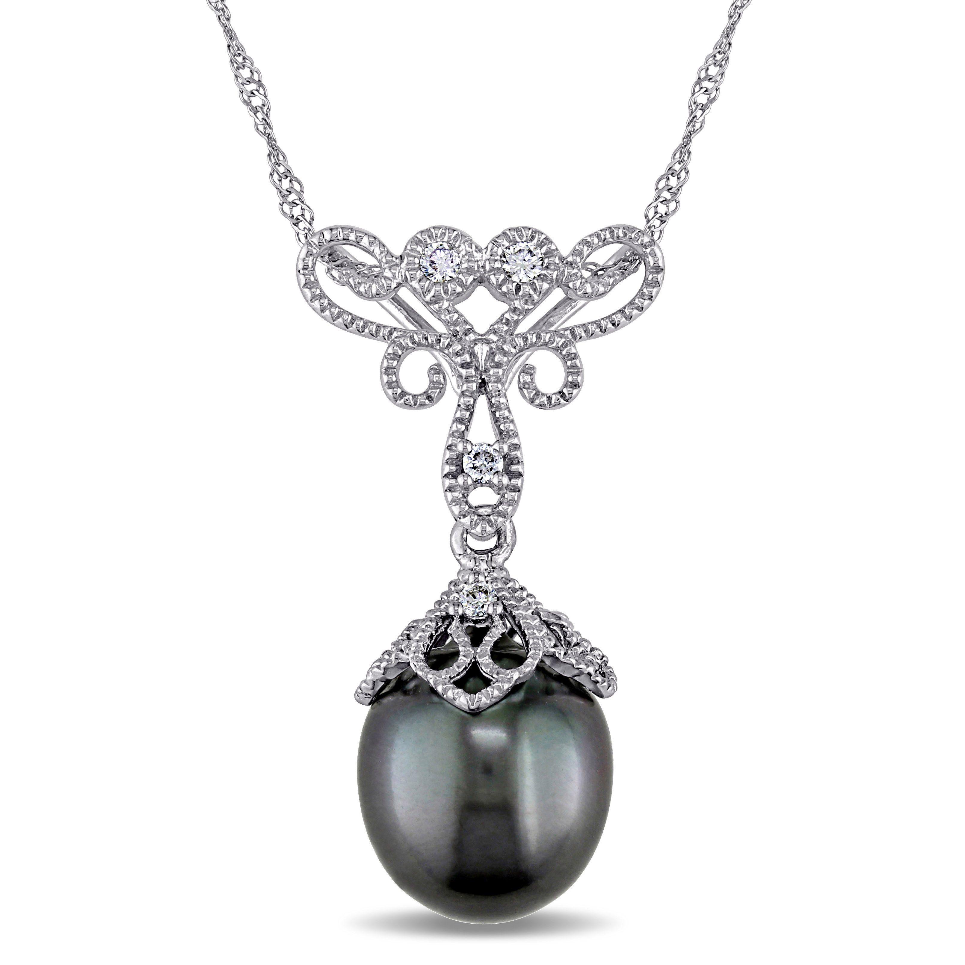 Diamond black tahitian pearl pendant necklace 14k white gold 9 diamond black tahitian pearl pendant necklace 14k white gold 9 95mm aloadofball Images