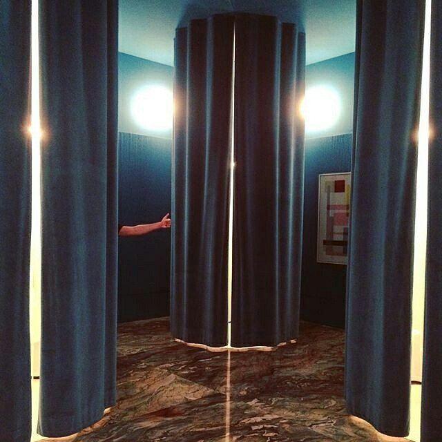 "blue cotton velvet curtain panel 120"" high tall extra long custom"