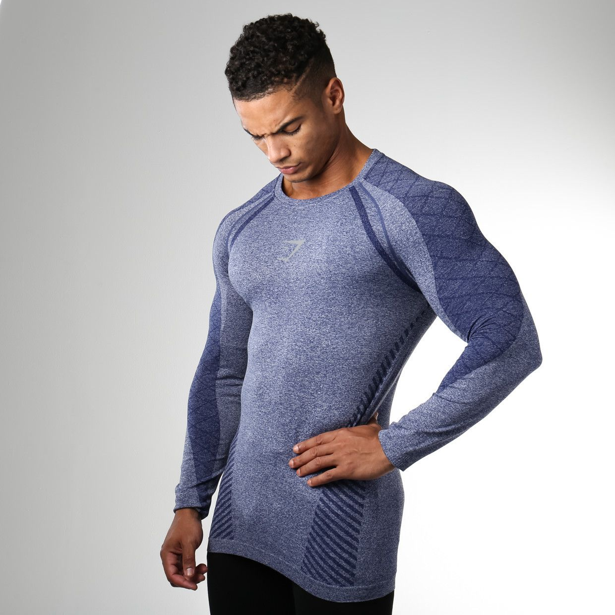 Gymshark devant seamless long sleeve t shirt navy