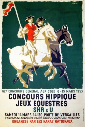 Equestrian Competition, 1953 - original vintage poster by O'Neill listed on AntikBar.co.uk