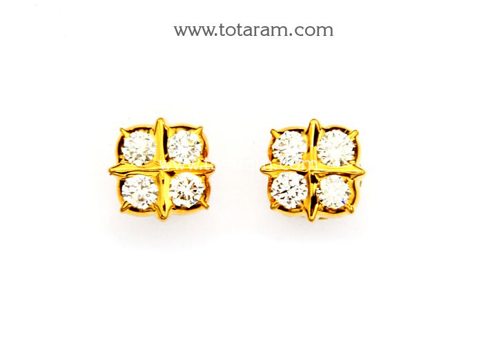 22K Gold Diamond Earrings DER899 Indian Jewelry Designs from