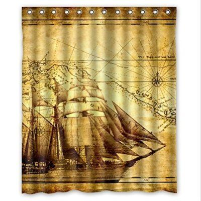 Cool Pirate Ship And Map Waterproof Bathroom Shower Curtain