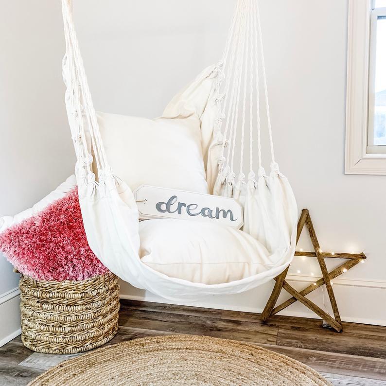 White Hammock Swing Chair , Cotton hammock chair , Indoor