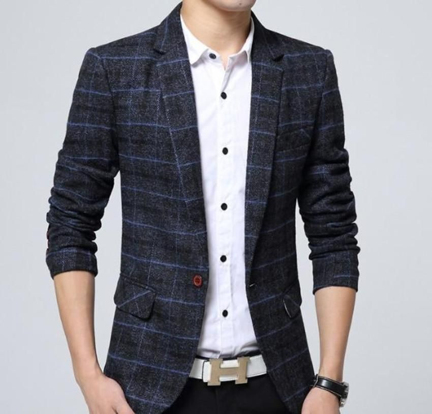 Mens Slim Fit Casual Blazer Single Breasted One Button Suits Coat Plaid Blazer Business Jacket Lapel Long Sleeve Retro Suit Jacket Khaki//Grey//Navy Blue