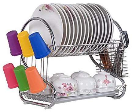 Metal Kitchen Dish Cup Drying Rack Drainer Dryer Tray Cutlery Holder Organizer