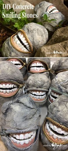 Concrete Smiling Stones outdoor halloween decorations Pinterest - create halloween decorations