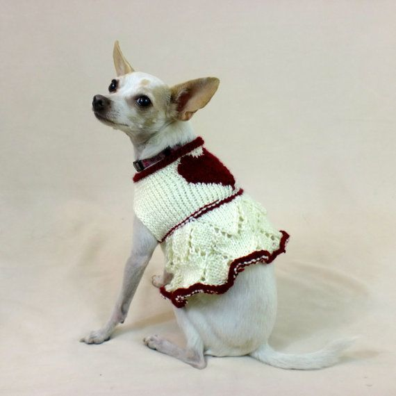 Dog Sweater Dress - Red and White Heart Dog Apparel, Valentine Knit ...
