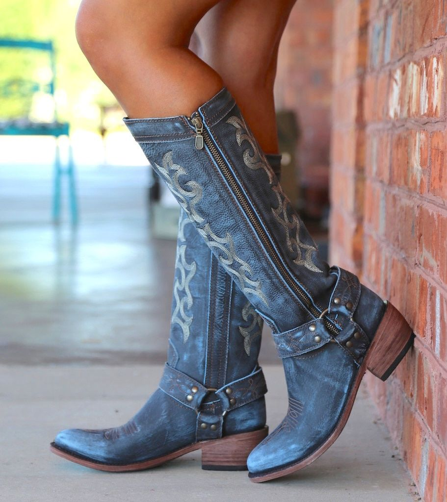 unyielding1 Girl Laced-up Knee High Riding Boots Chunky Low Heel Faux Leather Shoes