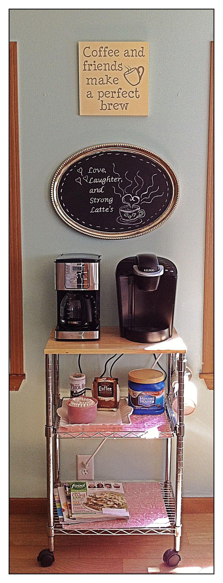 My new coffee station but first coffee pinterest for Coffee bar station