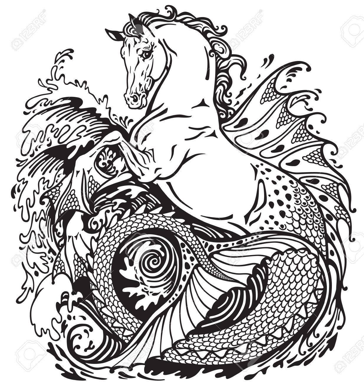 Image result for sea horse mythical creature Black and