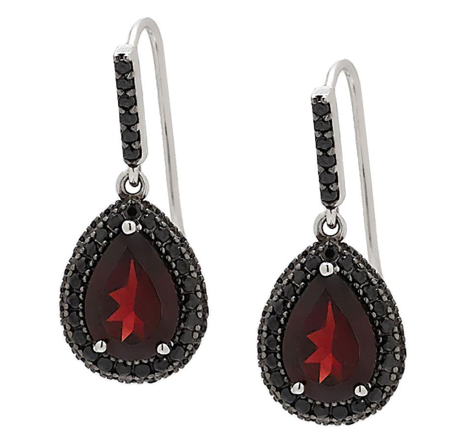 Carol Brodie 10x7 Garnet Gemstone & Spinel Firenze Drop Earrings ...