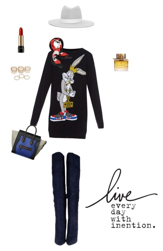 """""""Start Living"""" by dorisruiyingli ❤ liked on Polyvore featuring Moschino, Janessa Leone, Burberry, Lancôme and Wet Seal"""