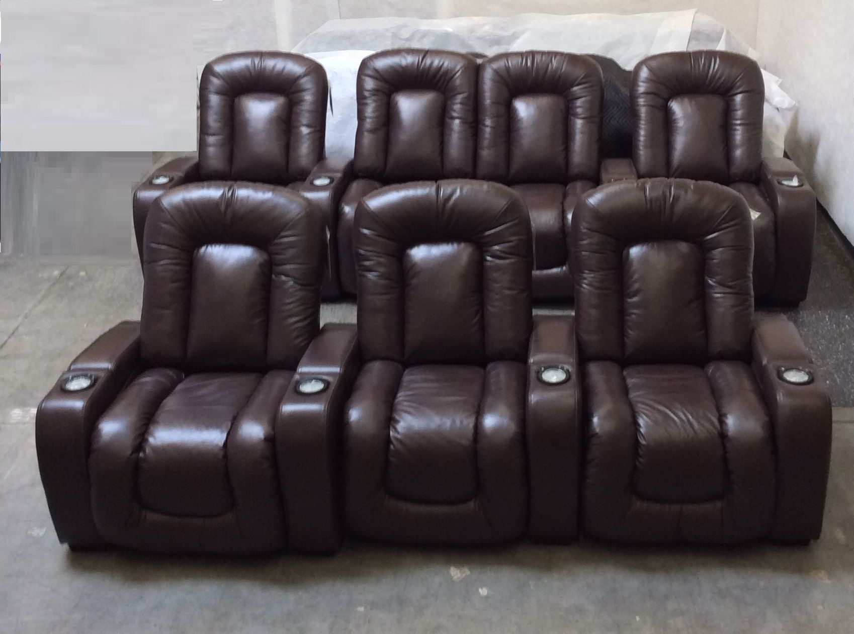 Mendoza Theater seating upholstered in Bronco Steer leather from