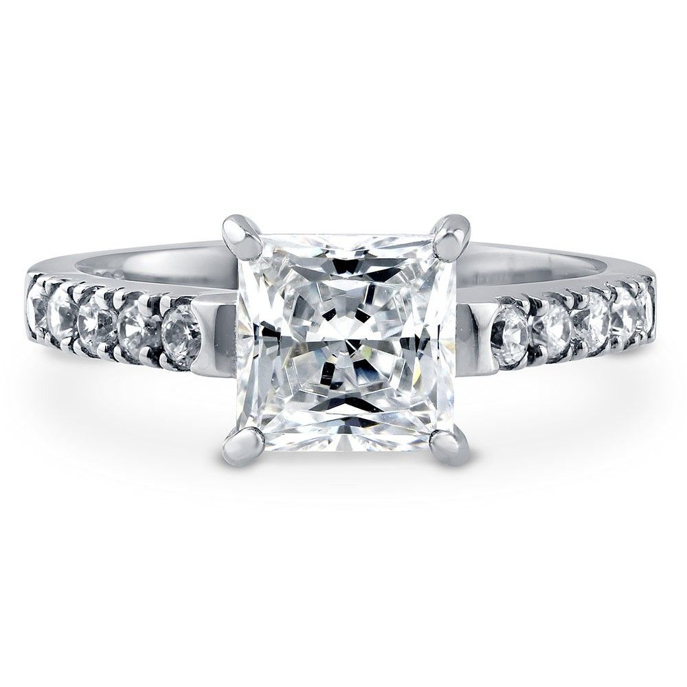 Round Cut White Cubic Zirconia Solitaire with Accent Ring in 14K White Gold Over Sterling Silver
