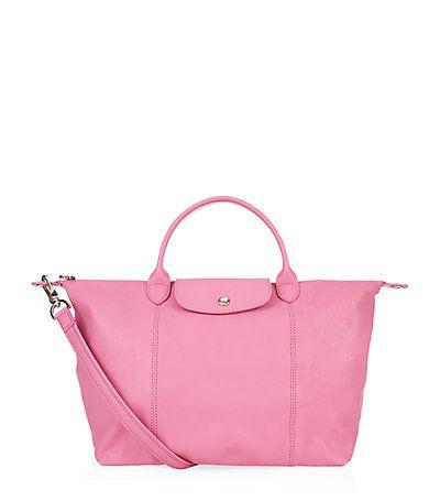 24c647de7f74 Longchamp Le Pliage Cuir Medium Handbag available to buy at Harrods. Shop  Longchamp bags online   earn reward points. Luxury shopping with Free UK  Returns.