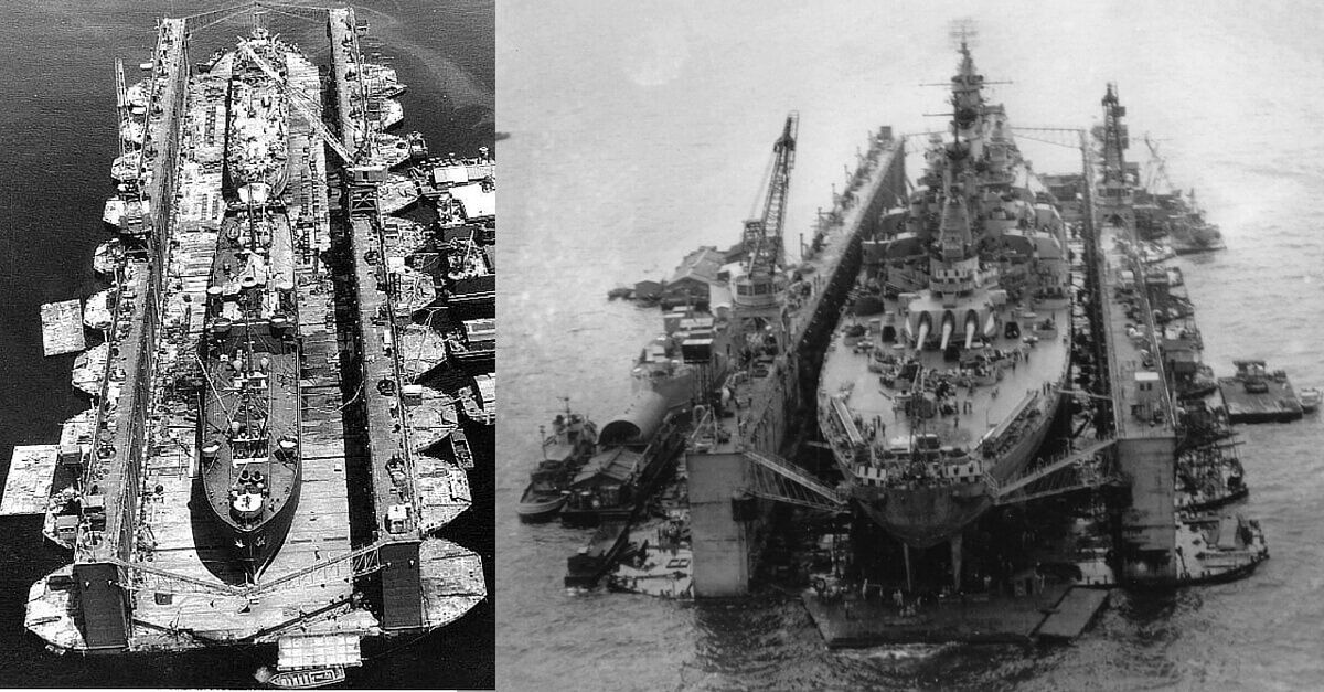 Image result for The Massive Floating Dry Docks of the US Pacific Fleet That Could Carry & Repair Battleships and Aircraft Carriers