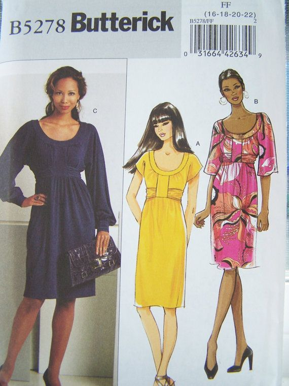 Butterick B5278 Sewing Pattern - Misses\' Pullover Dress, Empire ...