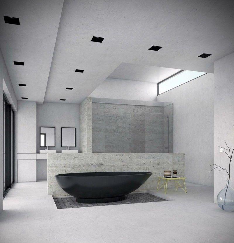 Die Badewanne in Schwarz ist ein eleganter Blickfang Bad - luxus badezimmer einrichtung
