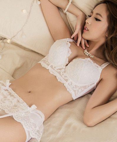 e56d64f4047 Belle Push-Up Longline Lace Bustier Bra Set (White) - Petite Cherry ...