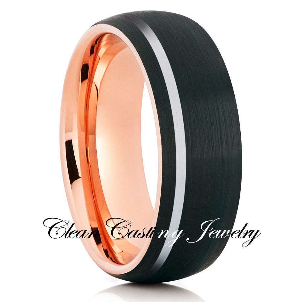 Offset Stripe Rose Gold Tungsten Brushed Finish Comfort Fit
