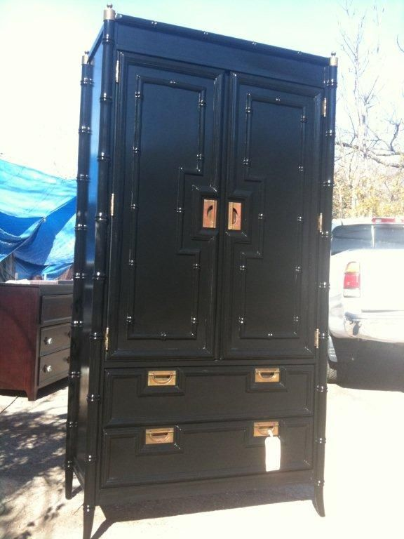 Hollywood Regency Black Bamboo Armoire Dressers Chests And Bedroom Armoires