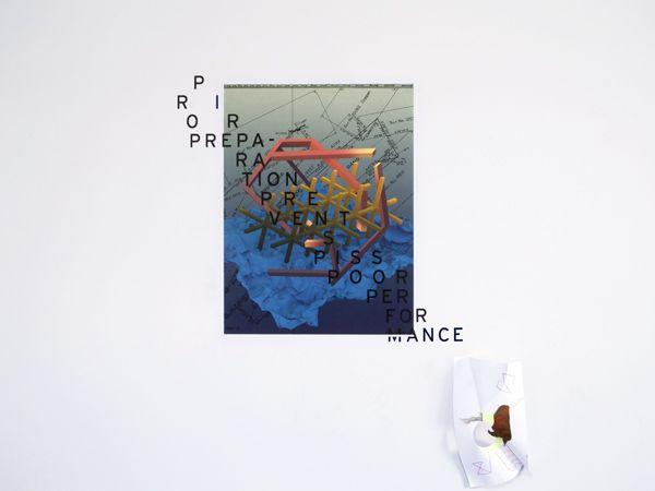 "Jesen Tanadi Prior Preparation Prevents Piss Poor Performance, Digital print, vinyl decal, 27""x36"""