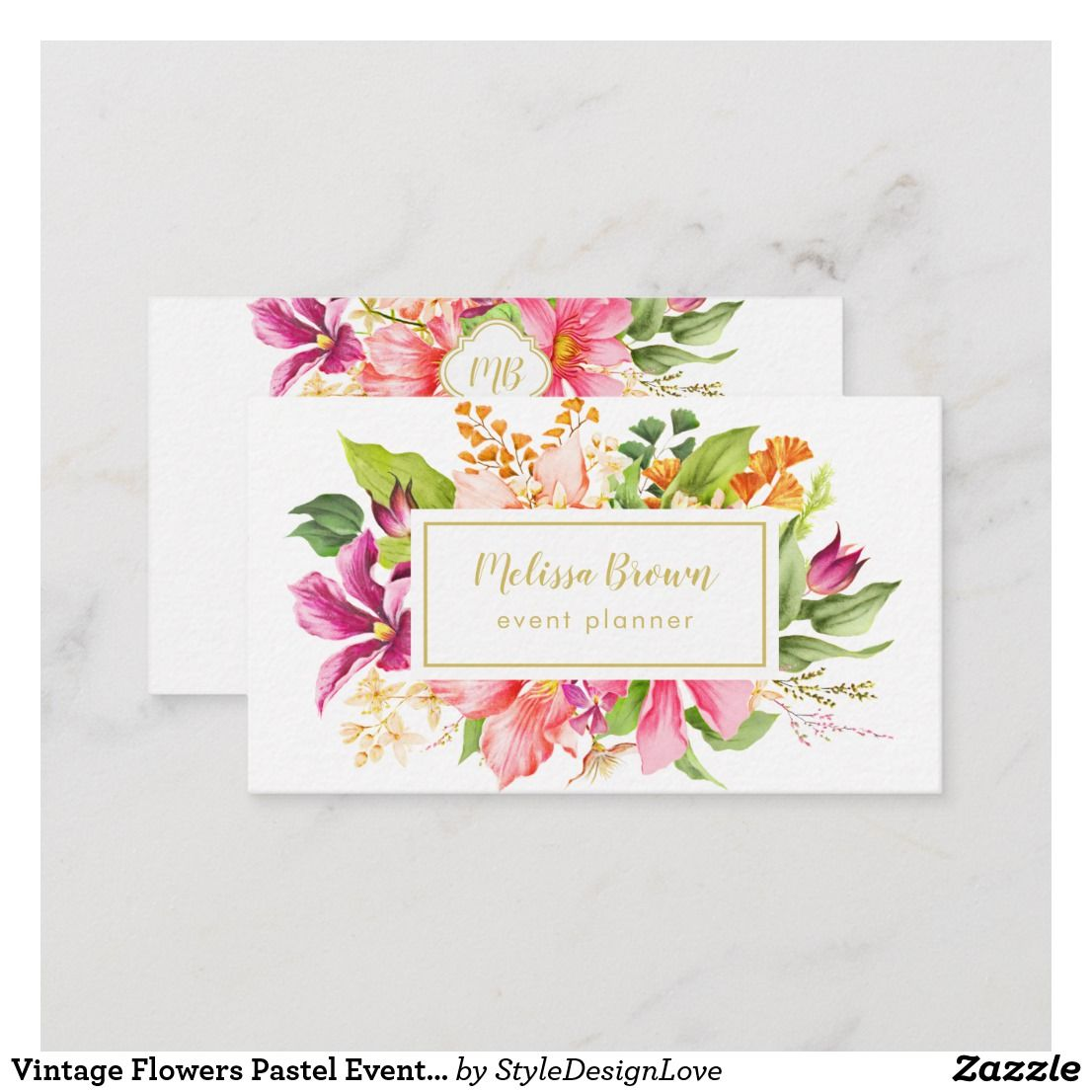 Personalized Vintage Flowers Pastel Event Planner Business Card