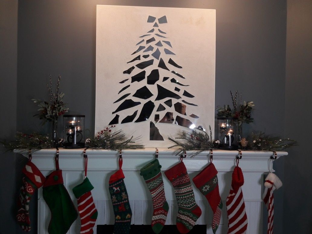 This Broken Mirror Christmas Tree Is A Great Finish To Your Mantle At Christmas Available At S2designsshop Christmas Mirror Broken Mirror Ideas Christmas Tree