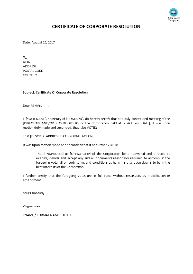 Certificate Of Corporate Resolution How To Write A Certificate Of Corporate Resolution Download This Le Certificate Templates Business Template Sales Letter