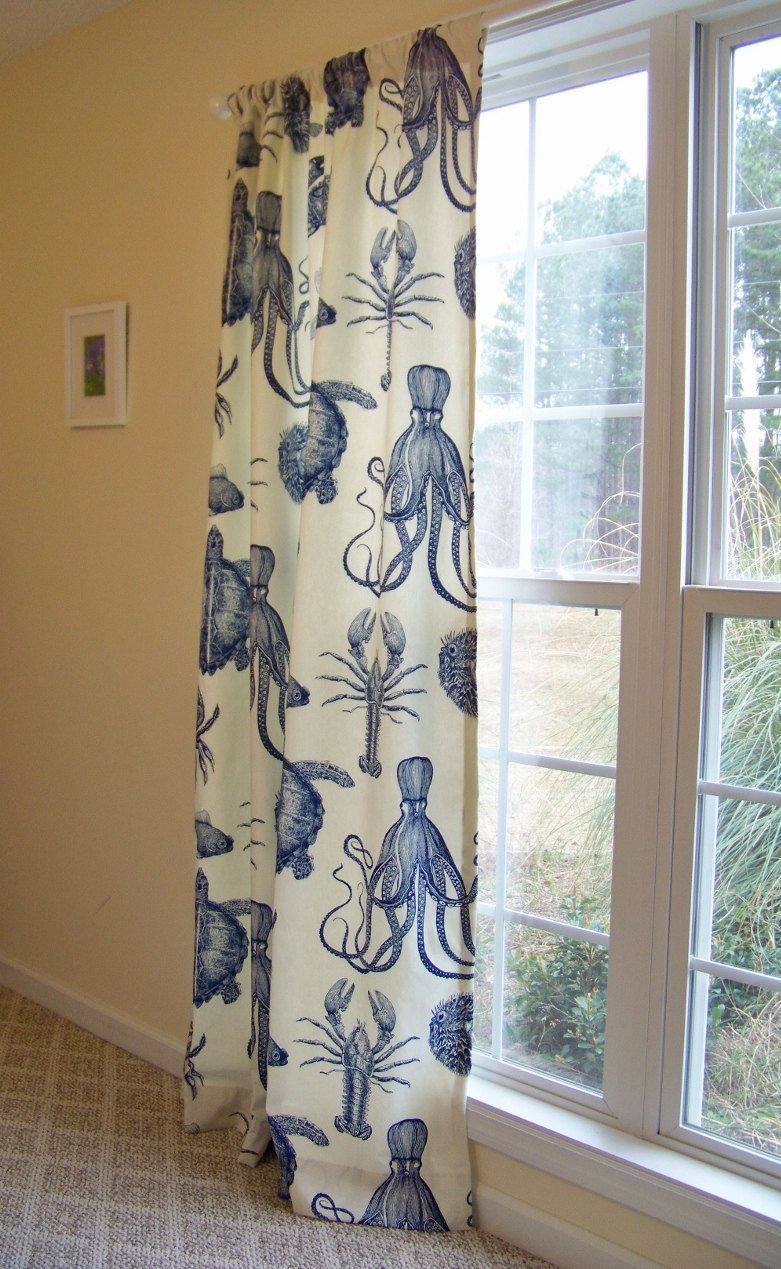 Octopus shower curtain etsy - Custom Curtain Drape Panel Octopus Sea Life Crab Lobster And Turtle Made With Oceania By Thomas
