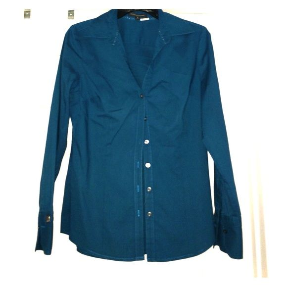 Dark teal Express dress shirt! Size M Dark teal Express dress shirt! Size M. Worn once to an interview  & dry cleaned! Excellent condition! Express Tops Button Down Shirts