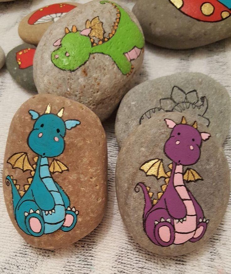 Cartoon Drachen gemalte Felsen - Ideen Blog #dinosaur