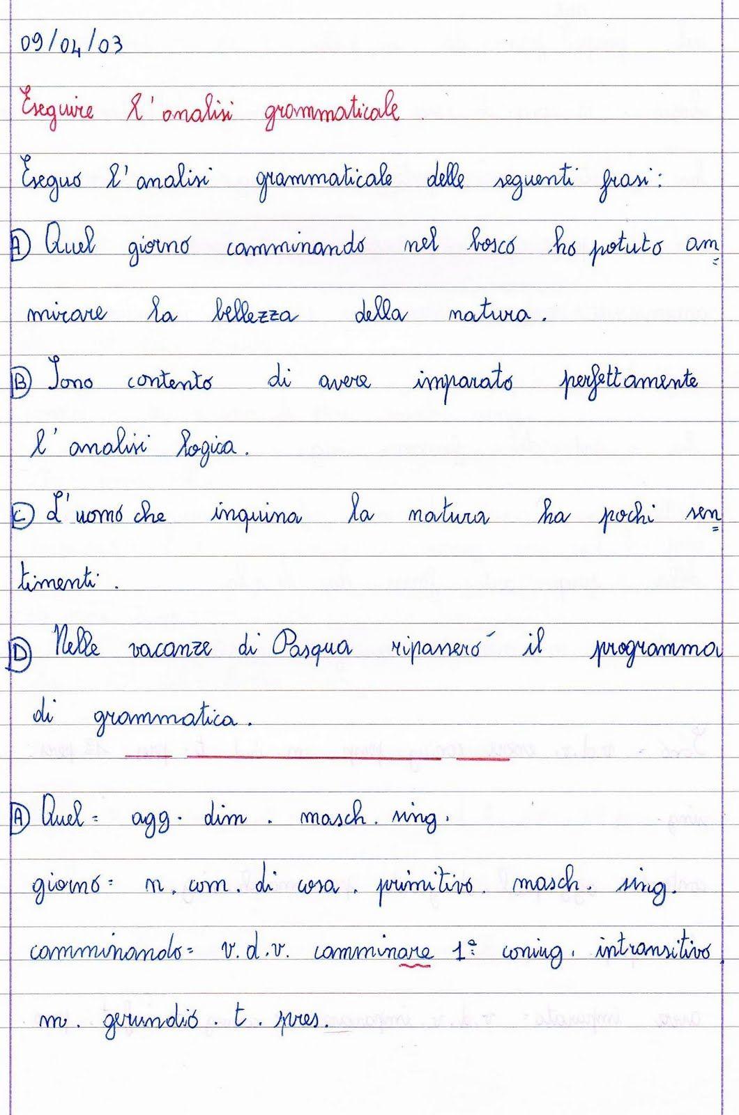 Analisi Grammaticale Classe Quinta Scuola Lezioni Di