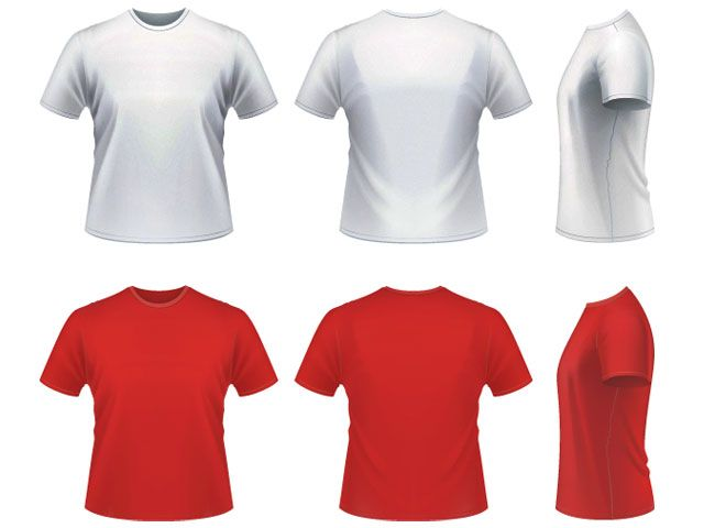 Download Vector Realistic T Shirt Template Baju Kaos Kaos T Shirt