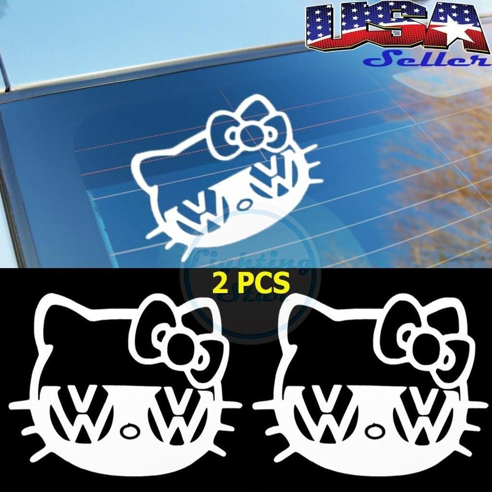 2pcs Hello Kitty Vw Volkswagen Jetta Beetle Gti Car Window Vinyl Decal Stickers Volkswagen Jetta Vw Volkswagen Hello Kitty Car Accessories [ jpg ]