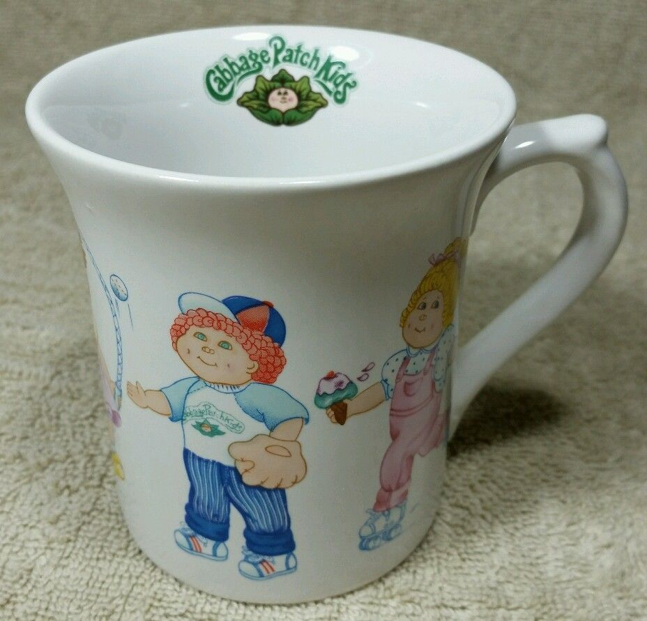 Vintage Coffee Mug Cabbage Patch Kids 1984 Cup Skates Baseball Cheer Football Ooainc Cabbage Patch Kids Mugs Patch Kids