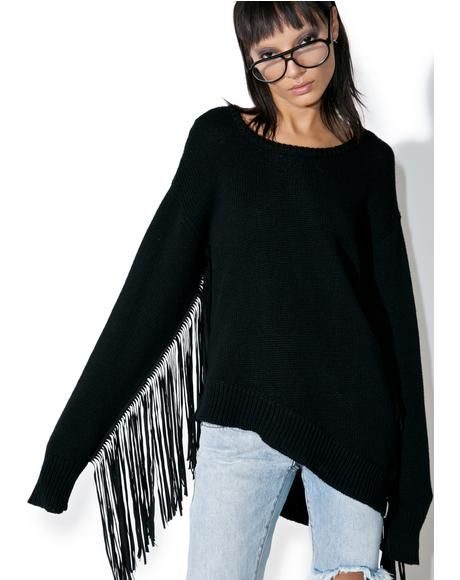 Sovereign Fringed Knit Sweater