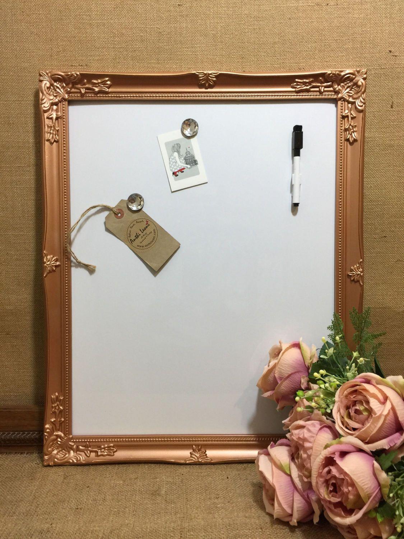 Rose Gold Magnet Whiteboard Copper Dry Erase Board Metallic Framed Message Boards Copper White Board F Ornate Picture Frames Magnetic White Board Frame