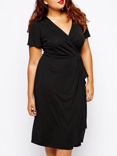 Buy Sexy V Neck Bowknot Plain Plus Size Midi Maxi Dress Online With